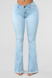 Jackie No Waist Flare Jeans - Light Blue Wash