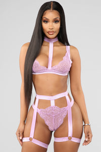 Strapped Up Lace 2 Piece Set - Violet