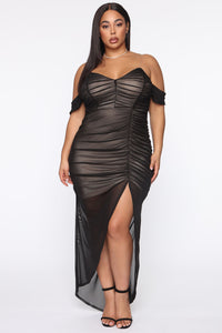 Feeling Ruched Mesh Maxi Dress - Black/combo Angle 5