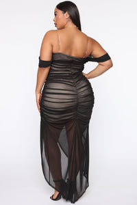 Feeling Ruched Mesh Maxi Dress - Black/combo Angle 6