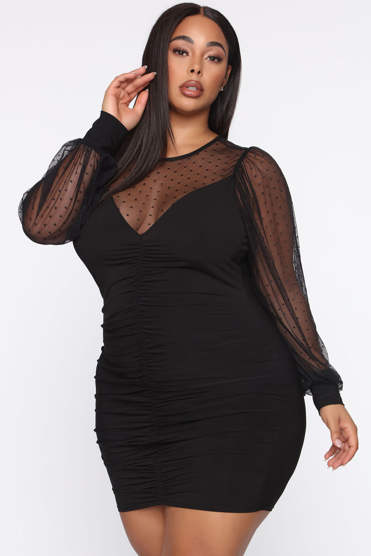 In A Ruched Bodycon Mini Dress - Black