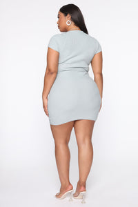 Leihla Sweater Dress - Blue Angle 5
