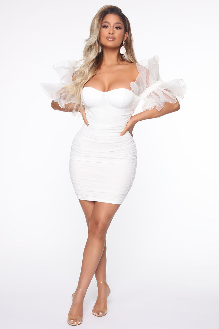 Beauty Queen Style Mini Dress - White