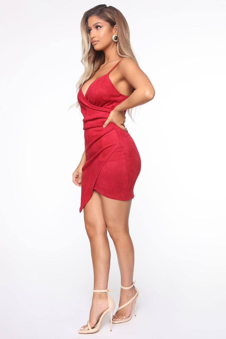 Good Beginnings Sued Mini Dress - Red