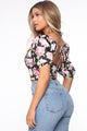 Playa Hermosa Floral Top - Black