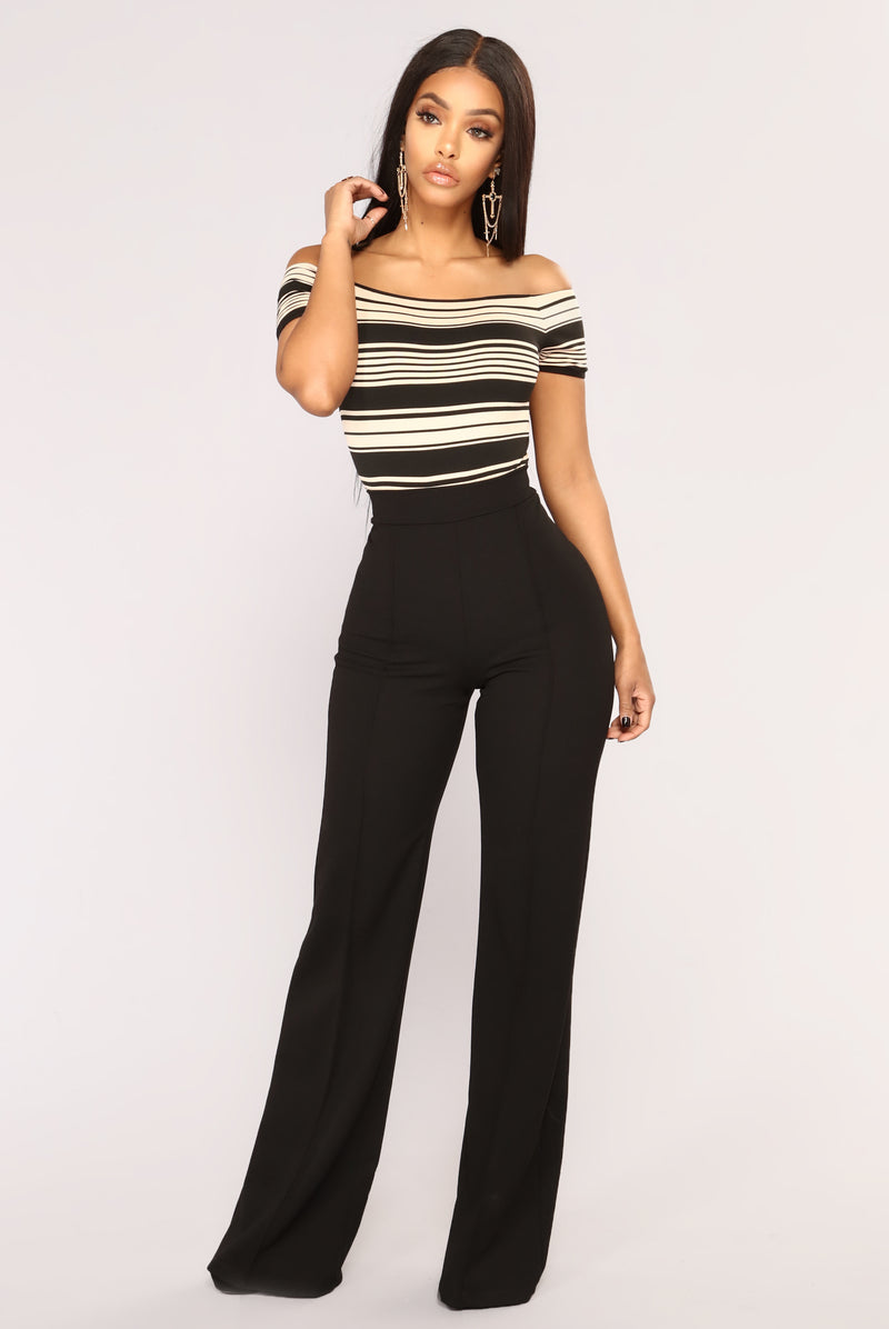 Too Much Too Late Striped Bodysuit - Black/Taupe