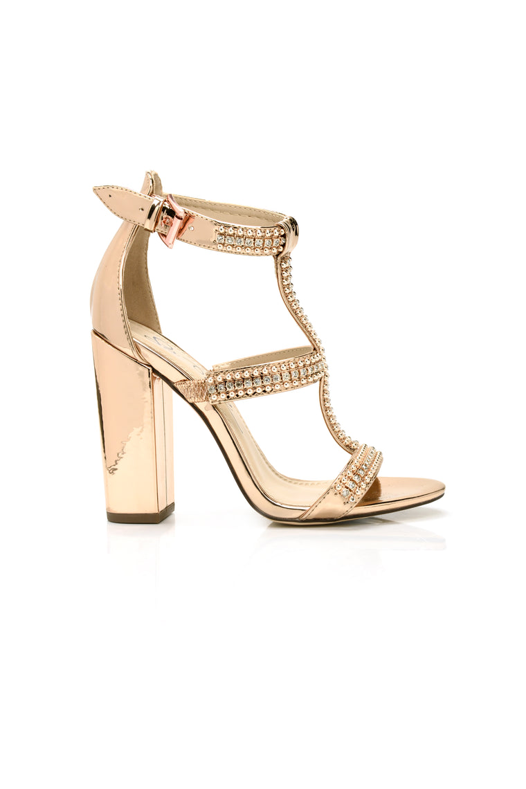 Caged Up Heeled Sandal - Rose Gold