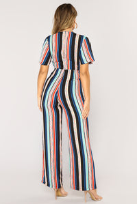 Stay In Your Lane Jumpsuit - Black Multi