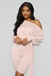 Down For Some Loungin' Biker Romper - Dusty Rose