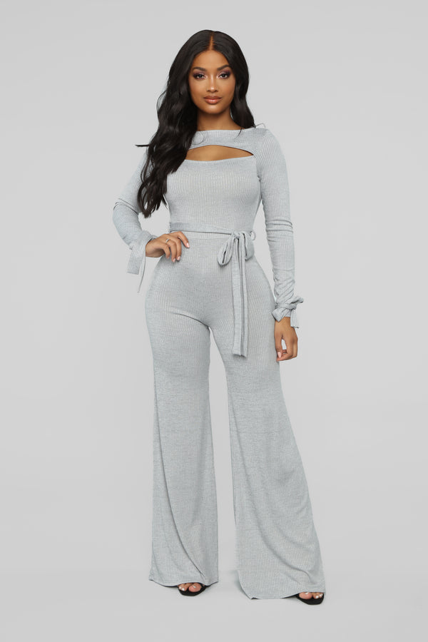 d9ded9b9f206 Tied Down Ribbed Jumpsuit - Grey