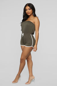 My Favorite Romper - Olive/White Angle 4