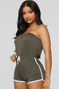 My Favorite Romper - Olive/White Angle 3