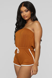My Favorite Romper - Cognac/White