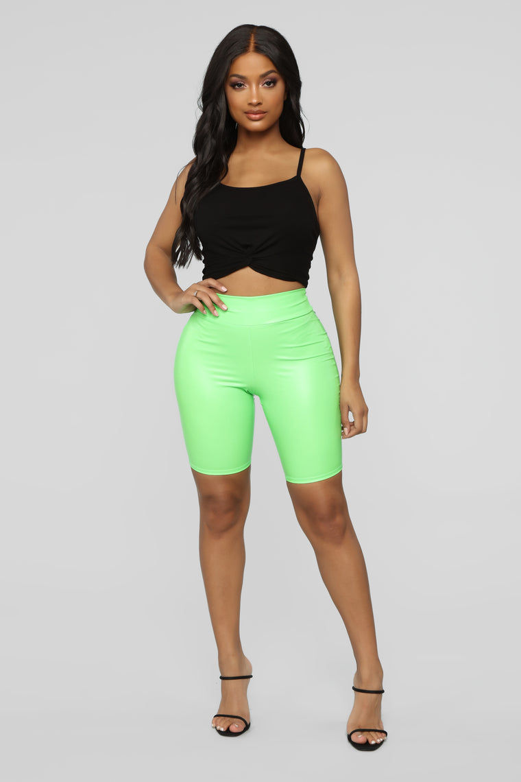 Not Your Ordinary Ruched Biker Shorts - Neon Green