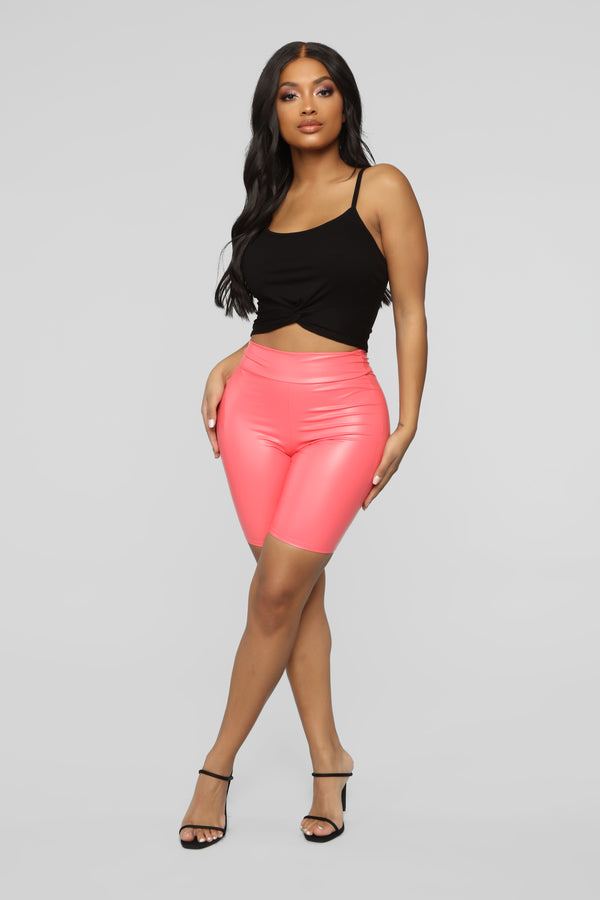5550471273 Not Your Ordinary Ruched Biker Shorts - Coral