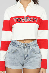 Better Than The Boys Rugby Top - Red/White