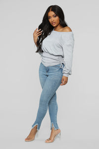 Rawan Ruched Top - Heather Grey Angle 4