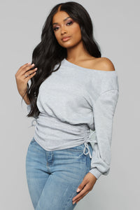 Rawan Ruched Top - Heather Grey Angle 3