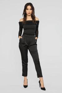 Kendall Ruched Mesh Top - Black