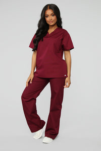 All Better Now Scrub Top - Wine Angle 4