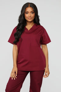 All Better Now Scrub Top - Wine Angle 1