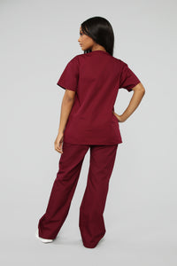 All Better Now Scrub Top - Wine Angle 5