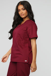 All Better Now Scrub Top - Wine Angle 3