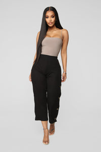 Snap Out Of It Ribbed Pants - Black