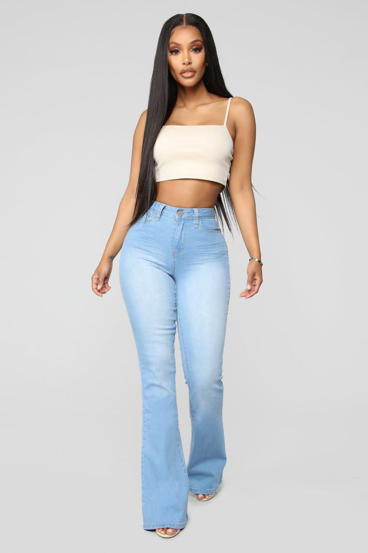 Jodie High Rise Flare Jeans   Light Blue Wash by Fashion Nova