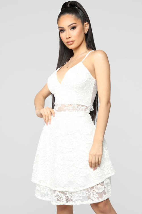 Sweet As A Doll Lace Flare Dress - White