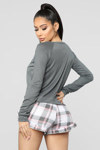 Winky Kitty PJ Set - Grey