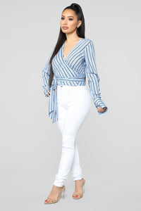 Stacia Surplice Top - Light Blue