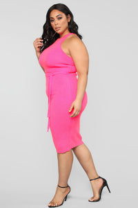 Come To Town Sweater Midi Dress - Fuchsia