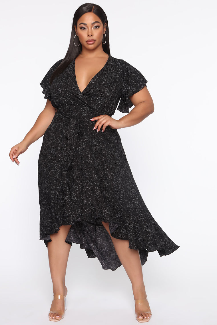 Brunching With You Polka Dot Dress - Black/combo
