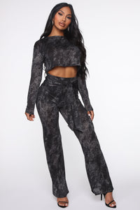 Cozy Night In Pant Set - Black Angle 1