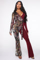Double Dosed Snake Jumpsuit - Burgundy