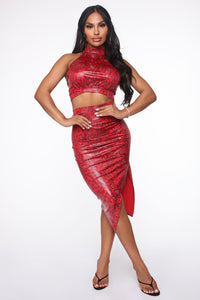 Sneak Right Through Skirt Set - Red Angle 1
