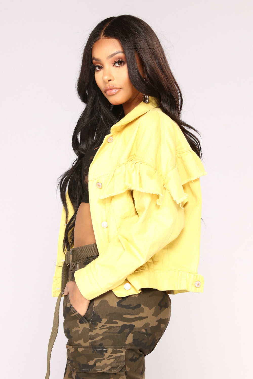 Stand Out Ruffle Jacket - Yellow