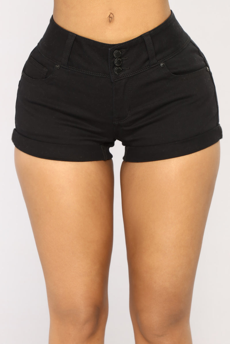 Plain And Simple Denim Shorts - Black
