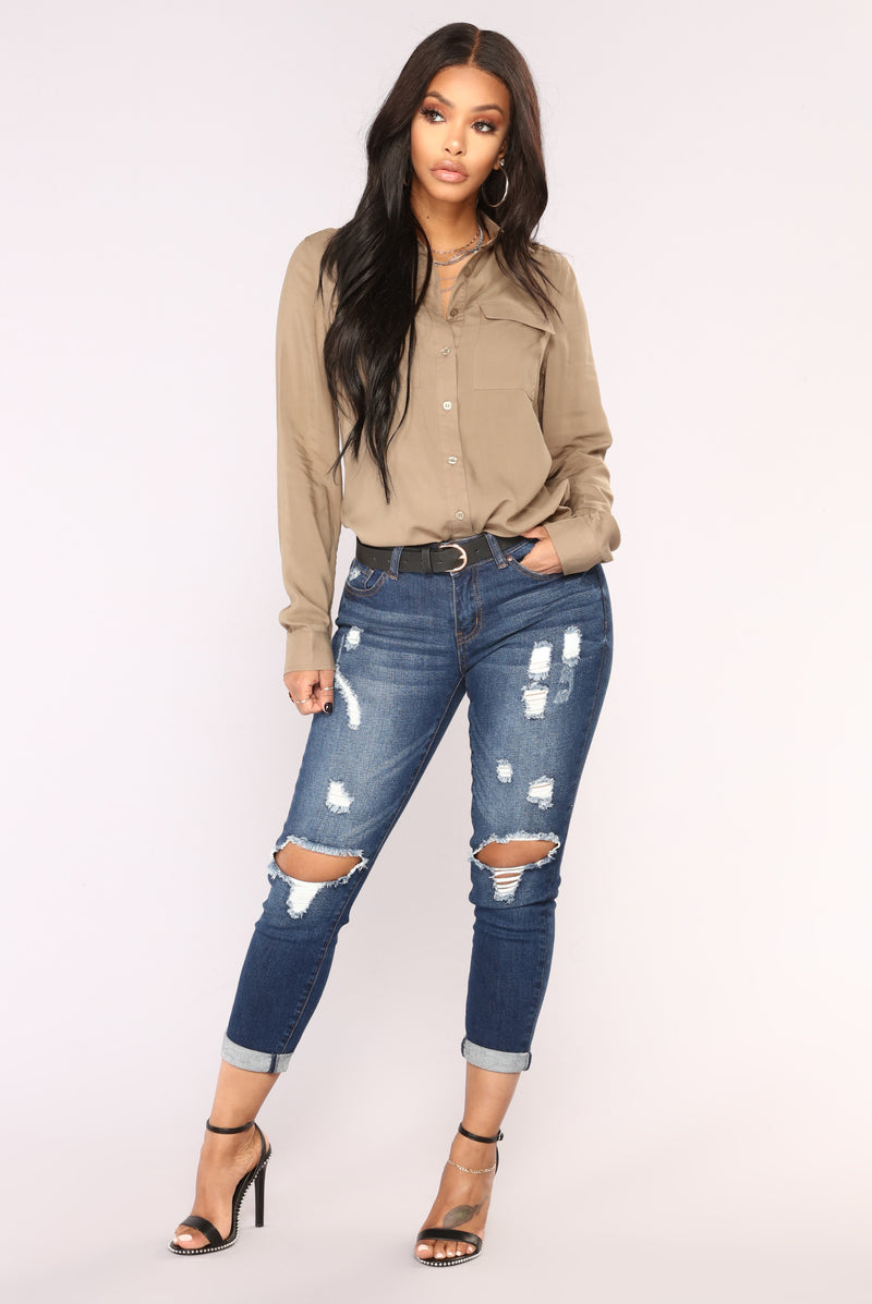 Roll 'Em Up Ankle Jeans - Dark Denim