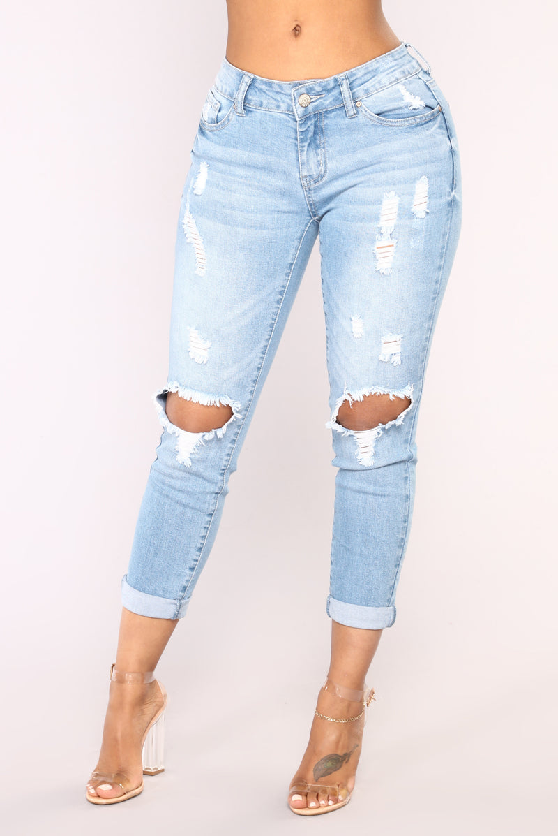 Roll 'Em Up Ankle Jeans - Light Blue Wash