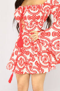 Sweet Water Embroidered Dress - White/Red