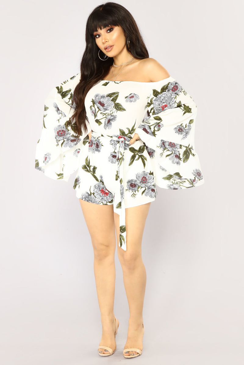 Field Trip Floral Romper - Off White