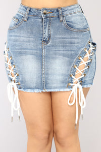 Always An Adventure Mini Skirt - Medium Blue Wash
