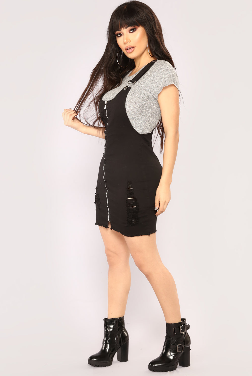 Take The Wheel Overall Dress - Black