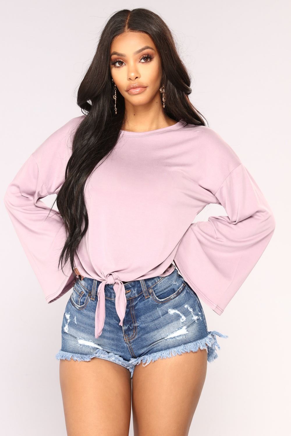 Knot Your Long Sleeve Top - Lavender