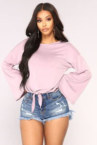 Knot Your Long Sleeve Top - Lavender Angle 1