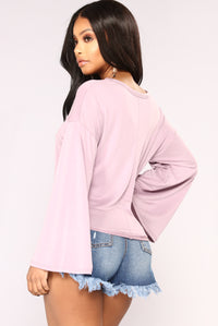 Knot Your Long Sleeve Top - Lavender Angle 5