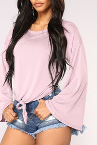 Knot Your Long Sleeve Top - Lavender Angle 3