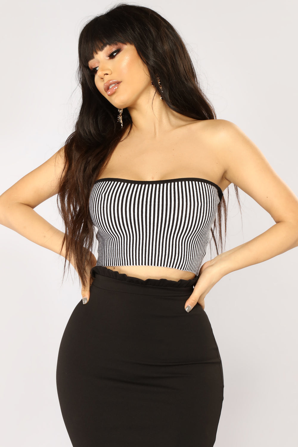 There You'll Be Striped Sweater Top - Black